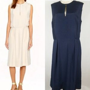 J. Crew Collection Classic Keyhole Dress Navy Blue